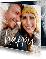 Neujahrskarte Foto mit weißen Tannenzweigen