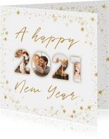 Neujahrskarte Fotocollage 2021 goldener Sternrahmen