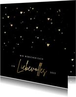Neujahrskarte goldene Herzen 'liebevolles 2022'