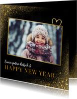 Neujahrskarte Goldlook mit Foto & Herz