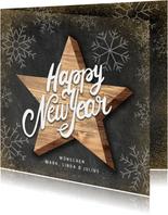 Neujahrskarte Holzstern Kreidelook Happy new year