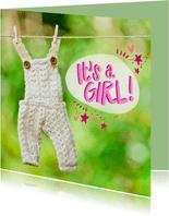 Newborn baby kaart met een witte overall