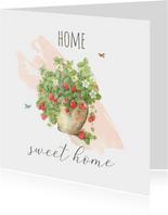 Nieuwe woning - Aardbeienplant met watercolor