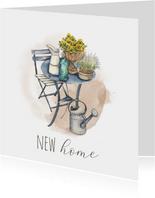 Nieuwe woning - Zitje met gieter en watercolor