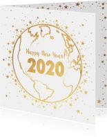 Nieuwjaarskaart goud wereldbol met sterren 2020
