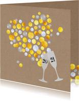 Nieuwjaar Gouden Champagne bubbelhart