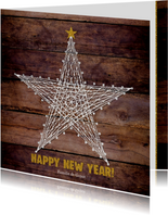 Nieuwjaar stoere moderne kaart houtprint en ster van touw