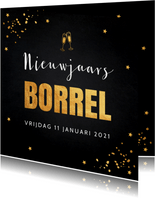 Nieuwjaarsborrel confetti typografie goudlook