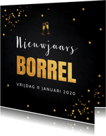 Nieuwjaarsborrel goud confetti typografie 2020
