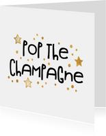 Nieuwjaarsborrel uitnodiging 'pop the champagne' goudlook