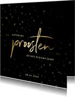 Nieuwjaarsborrel uitnodiging sterren goud