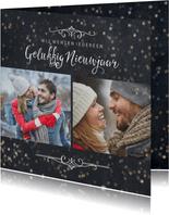 Nieuwjaarskaart 2 foto's met sterretjeseffect en krijtbord