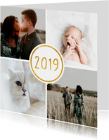 Nieuwjaarskaart '2019' met 4 foto's vierkant