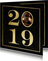 Nieuwjaarskaart 2019 met foto en gouden kader