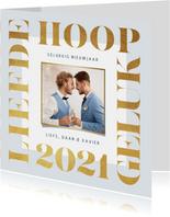 Nieuwjaarskaart 2021 goud modern grafisch foto