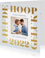 Nieuwjaarskaart 2022 goud modern grafisch foto