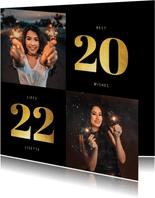 Nieuwjaarskaart 2022 goudlook met 2 foto's