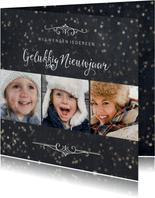 Nieuwjaarskaart 3 foto's met sterretjeseffect en krijtbord