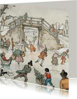 Nieuwjaarskaart - Anton Pieck illustratie ijspret