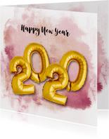 Nieuwjaarskaart ballon 2020 goud watercolours paars