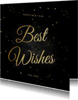 Nieuwjaarskaart Best Wishes klassiek met sterren