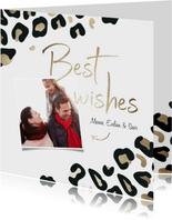 Nieuwjaarskaart Best wishes met foto goudlook panterprint
