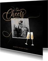 Nieuwjaarskaart champagne met foto en gouden linten