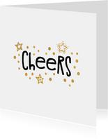 Nieuwjaarskaart 'cheers' goudlook