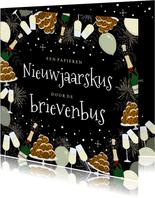 Nieuwjaarskaart Corona papieren kerstkus door de brievenbus