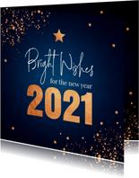 Nieuwjaarskaart donkerblauw koperlook confetti 2021