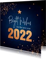 Nieuwjaarskaart donkerblauw koperlook confetti 2022