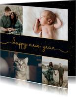 Nieuwjaarskaart donkere achtergrond met sierlijke letters