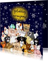 Nieuwjaarskaart - een beestenboel
