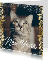 Nieuwjaarskaart feestelijk gouden kader met confetti