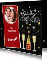 Nieuwjaarskaart fles champagne