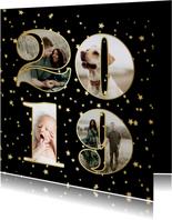 Nieuwjaarskaart fotocollage 2019 sterren goud