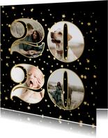 Nieuwjaarskaart fotocollage 2020 sterren goud