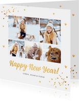 Nieuwjaarskaart fotocollage goudlook confetti