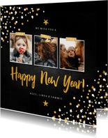 Nieuwjaarskaart fotocollage krijtbord met confetti