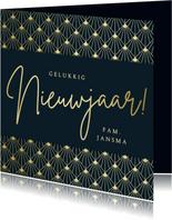 Nieuwjaarskaart gelukkig nieuwjaar - art deco stijl met goud
