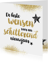 Nieuwjaarskaart glitter en tekst