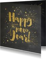 Nieuwjaarskaart goud krijtbord