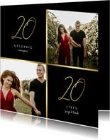 Nieuwjaarskaart gouden 2020 met 2 foto's