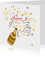 Nieuwjaarskaart gouden champagne