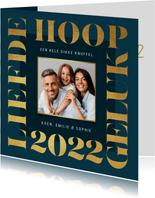 Nieuwjaarskaart grafisch modern goud foto 2022 liefde
