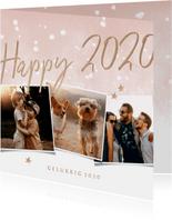 Nieuwjaarskaart happy 2020 met 3 foto's en waterverf sneeuw