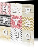 Nieuwjaarskaart Happy  2020 Patchwork