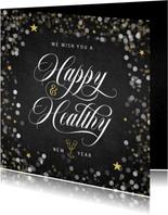Nieuwjaarskaart happy healthy krijtbord confetti goud ster