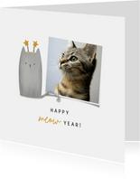 Nieuwjaarskaart happy meow year met foto en kat