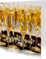 Nieuwjaarskaart Happy New Year 2020 Champagne